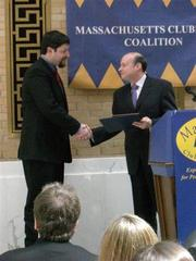 Senator Stan Rosenberg presents Congressional Award to Lee, 2010